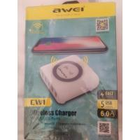AWEI CW1 Multi-port USB With 10W Wireless Charger white